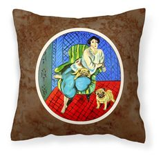 Carolines Treasures Lady with Her Fawn Pug Decorative Outdoor Pillow - 7072PW1414