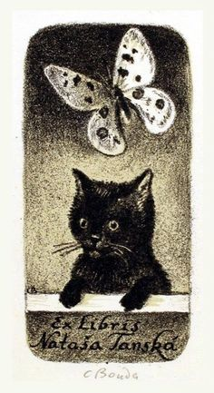 """Ex Libris"" ~ Cyril Bouda (Czech, Ex Libris, Crazy Cat Lady, Crazy Cats, Mon Zoo, Gatos Cat, Black Cat Art, Black Cats, Cat Paws, Here Kitty Kitty"
