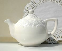 White on white teapot detailed with white accent by Dprintsclayful