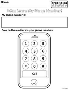 Phone number safety skills free number worksheets, teaching tips, life skil Toddler Learning Activities, Preschool Lessons, Home Learning, Preschool At Home, Preschool Activities, Teaching Kids, Learning Time, Number Worksheets, School Worksheets