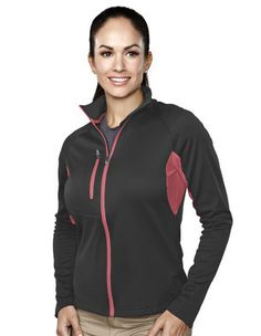Tri-Mountain Lady Lancer 5.8 oz. Lightweight Polyester Performance Fleece Jacket featuring Tri-Mountain UltraCool® moisture wicking technology. Contrast mesh along underarms for enhanced breathability. Accented with a zippered right chest pocket, raglan sleeves and inner storm flap with chin guard. Available in Black/Charcoal, Midnight Charcoal/Guava and Slate/Apple. #outerwear #jackets