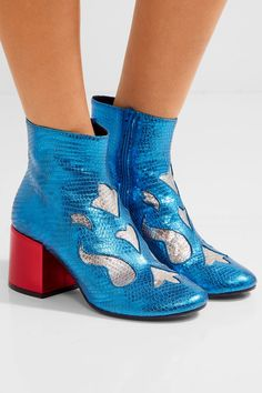 MM6 Maison Margiela - Metallic Snake-effect Leather Ankle Boots - Blue