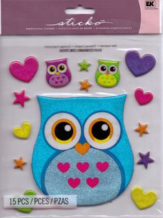 Sticko I LOVE OWLS Scrap Stickers~BNIP~Large Set~Really Cute!! #Sticko