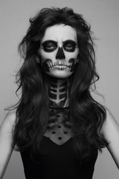 Skulls are a Halloween staple that make for a classic costume. But instead of taking the easy route and wearing a mask, learn how to create a painted-on skull face. This makeup look will GLAM your skeleton to the next … Continue reading → Maquillaje Halloween, Halloween Costumes, Halloween Face Makeup, Halloween Skull, Halloween Clothes, Holiday Costumes, Halloween Outfits, Skull Makeup, Makeup Art