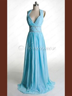 2013 Classic Designer A-line Halter Long Navy Blue Formal Evening Dress NP1121 (front)