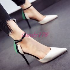 Korean Womens Ankle Strap Stilettos High Heels Pointy Toe Pieced Grace Shoes
