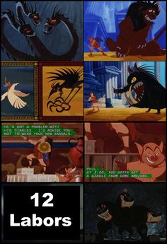 The movie makes many references to the epic poem of the 12 Labors of Hercules including the mid-movie battle with the Lernaean Hydra (2nd Labor). The Nemean Lion (1st Labor), Erymanthian Boar (4th Labor), Stymphalian Bird (6th Labor) are featured in the 'Zero to Hero' scene, and the capturing of Cerberus (12th Labor) at the end of the film. Phil also mentions the task of cleaning Augean's stables (5th Labor) and retrieving a Girdle from 'some Amazons' (9th Labor) while Hercules was posing…
