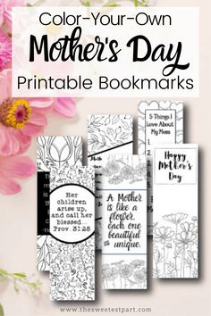 FREE Printable Mother's Day Bookmark to Color