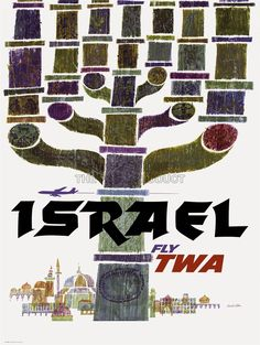 TRAVEL TOURISM ISRAEL TWA MENORAH JERUSALEM AIRLINE VACATIONAD POSTER ART 2404PY | eBay