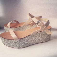 34e43b91251 ZARA GLITTER WEDGE PARTY BLOCK PLATFORM SANDALS WITH ANKLE STRAPS SIZE 38   zara  PlatformsWedges
