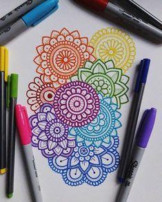 Ideas doodle art journal zentangle patterns crafts for 2019 Mandala Doodle, Sun Mandala, Mandala Print, Easy Mandala Drawing, Mandala Art Lesson, Doodle Drawings, Easy Drawings, Doodle Art, Sharpie Drawings