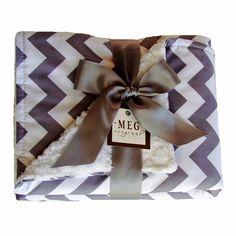 Gray Chevron Stripe Chenille Stroller Blanket - Meg Original Stroller Blankets