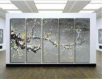 5251 pintado à mão 5 peça balck branco pintura a óleo sobre tela contemporânea parede imagem flor de cerejeira para