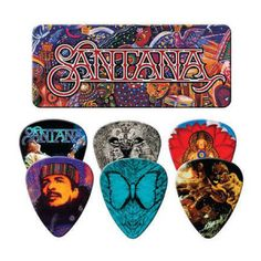 Carlos Santana Collectors Tin Featuring 6 Guitar Picks With Art Work From Some Of His Most Popular Albums. Santana First Emerged On The Global Music Scene In 1969 At Woodstock Santana Guitar, Santana Music, Cool Guitar Picks, Cool Picks, Music Guitar, Guitar Chords, Guitar Room, Guitar Pics, Music Music