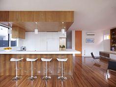 Resort Residence Kitchen Island Among Seating With White Kitchen Furniture Cottage Interior Furnished with Minimalist Wardrobe