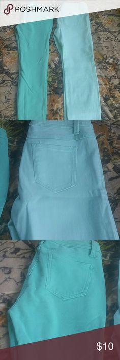 Mint jeggings bundle 1 is from wet seal, size large, the lighter mint color. Great condition, no flaws. The other is a cotton material, from tj maxx. Size xl. Good condition, no flaws. Both being reposhed. Wet Seal Jeans Skinny