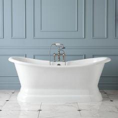 """69"""" Aubrey Cast Iron Double-Ended Pedestal Tub - Bathtubs - Bathroom"""