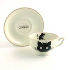 Cup Cat Mouse Catch Me Funny Fun Porcelain Altered  Redesigned Tee Coffee Pet Sugarwhite Black on Etsy, $33.81