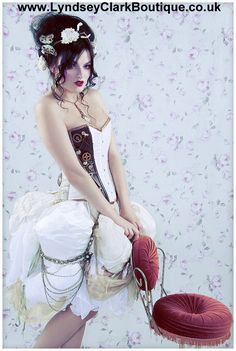 Steampunk Victorian corset bustle unique alternative wedding dress / prom with train Custom MADE TO ORDER/ measure