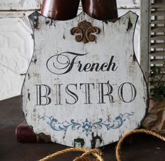 Fleur De Lis Bistro Wall Plaque Sign Wood Vintage Syle Paris Shabby French Chic for sale online Shabby Chic Kitchen, Shabby Chic Decor, Shabby Chic Signs, Bistro Kitchen, Paris Kitchen, Kitchen Dining, Cafe Bistro, Dining Room, French Signs