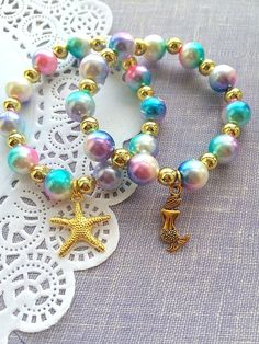 Gold Mermaid bracelet, starfish bracelet, SET of SEVEN, mermaid kids party, kids birthday party, mer