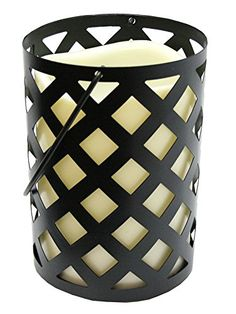 7 Black Metal Criss Cross Lantern with Bisque LED Lighted Flameless IndoorOutdoor Pillar Candle -- This is an Amazon Affiliate link. Check this awesome product by going to the link at the image.