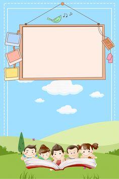 Early Childhood Education Blue Cartoon Fun Enrollment Background
