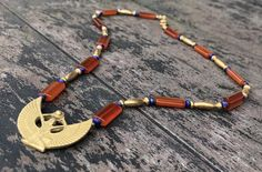 Ankh Necklace, Rihanna Style, Amber Color, Cleopatra, Blue Beads, Carnelian, Tat, Egyptian, Museum