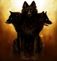Cerberus by =Emma-Fay on deviantART - Cerberus is a three headed hell hound that guards the gates of the underworld loyal to Hades, and is the offspring of Echidna, a hybrid half-woman and half-serpent, and Typhon, a gigantic monster even the Greek gods f Greek And Roman Mythology, Greek Gods, Mythology Tattoos, Hades And Persephone, Mythological Creatures, Mythological Monsters, Magical Creatures, Gods And Goddesses, Fan Art