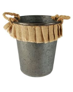 Another great find on Metal & Burlap Bucket by Blossom Bucket Twine Wine Bottles, Cute Crafts, Toddler Girl, Burlap, Planter Pots, Bucket, Metal, Primitive, Wedding Decorations
