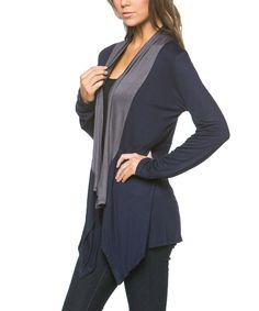 Look what I found on #zulily! Celeste Navy & Gray Color Block Open Cardigan by Celeste #zulilyfinds
