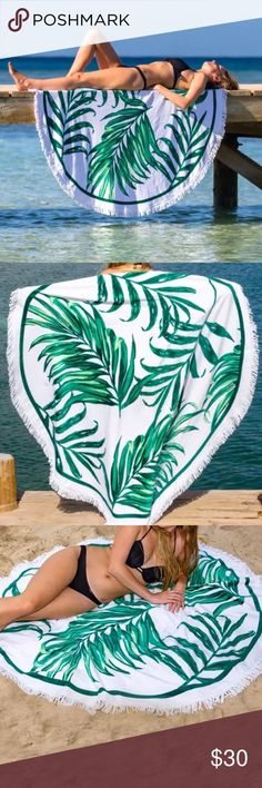 """PALM LEAF OR GREEN LEAVES ROUND BEACH TOWEL/THROW ROUND PALM LEAVES, BANANA LEAF, GREEN LEAVES BEACH THROW, YOGA MAT, SARONG, SHAWL OR WALL TAPESTRY. ROUND TOWEL, PICNIC BLANKET, FESTIVAL THROW, SUPER VERSATILE. WRAP IT AROUND YOUR WAIST FOR A SARONG, THROW IT OVER YOUR SHOULDERS FOR THE PERFECT SHAWL, OR LAY IT ON SAND FOR THE PERFECT BEACH TOWEL OR BEACH BLANKET. 59"""". USE AS A UNIQUE YOGA MAT. SWIM. LIGHTWEIGHT AND EASY TO THROW IN YOUR BAG. 100% POLYESTER, WITH COTTON FRINGE. 59"""". NOT…"""