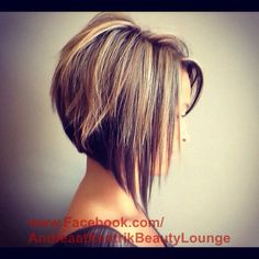 Dramatic angled bob fall lowlights