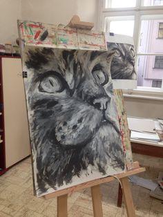 Tohle je obrázek kočky namalovaný prstem od velmi talentované dívky.