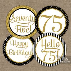 75th Birthday Cupcake Toppers - Black Gold