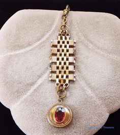 Antique Victorian Rose Gold Pocket Watch Chain with Red Jeweled Fob #PocketWatchChain
