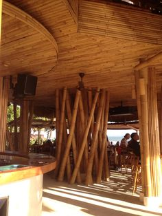Bamboo ceiling and column