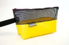 Made in UK Vintage Black Mesh & Yellow PVC Trampoline  Make Up | Cosmetic | Wash Kit Bag by wyattandjack on Etsy