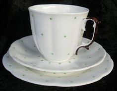 Vintage Retro Roslyn Bone China Tea Trio Fluted Cup Saucer Plate Green Dots