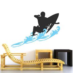 Surfer Wall Decal With Waves, surf board decals, surfing decal, surf wall decor, surf board wall des Beach Wall Decals, Sports Wall Decals, Wall Decal Sticker, Vinyl Wall Decals, Monogram Wall, Surfer, Cool Walls, Wall Design, Wall Decor