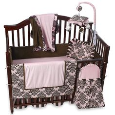 Elegant Crib Bedding Set Has A Rich Brown Damask Pattern Complemented By Pink And Stripes