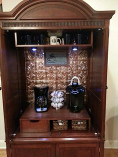 Armoire into Coffee Bar | Come see what else there is to discover...  like the ceiling tiles on the inside of this coffee bar