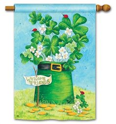Magnet Works House Flag - Shamrocks and Ladybugs Decorative flag at Garden House