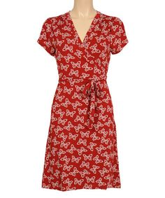 Look at this #zulilyfind! Port Red Morpho Surplice Dress #zulilyfinds