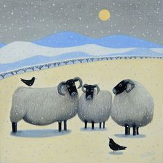 """Sheepie Blethers"" Blackface sheep and blackbirds gather in the snow from an original painting by Ailsa Black."