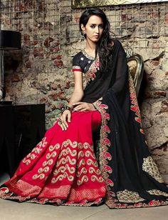 Black Red Poly Georgette Embroidered Saree  $120.90 #weddingsaree #partywearsaree #designersaree #festivalsaree #sari #sareecollection #womenswear #fashionumang