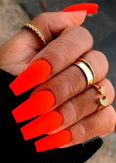 So amazing neon orange nails coffin shaped long for summer 2019 Neon Orange Nails, Neon Nails, Orange Nail Designs, Short Nail Designs, Coffin Nails, Acrylic Nails, Acrylic Board, Wedding Nail Polish, Sunflower Nails
