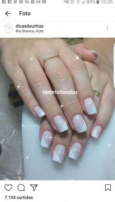 New Ideas for nails sencillas decoradas French Nails, French Manicure Nails, Manicure E Pedicure, Nails French Design, Elegant Nail Designs, Elegant Nails, Stylish Nails, Nail Art Designs, Nagellack Design
