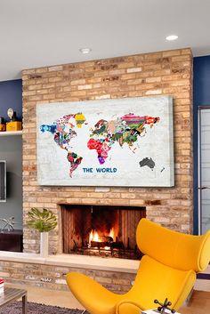 Oliver Gal Hipster Mapa Mundi Canvas Wall Art