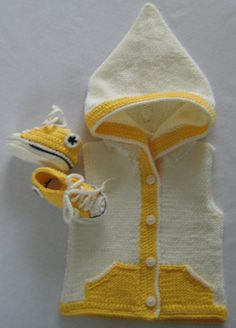 Sun Yellow Crochet Converse Baby Booties & Knitted Cream and Yellow Matching Hoodie. £18.00, via Etsy.